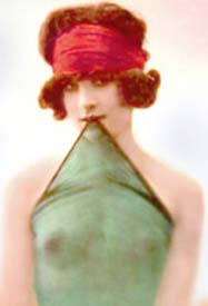 Vintage Woman wearing an Erotic see through Scarf