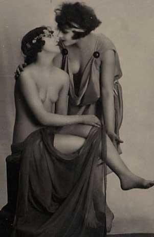 Vintage Lesbian Women about to Kiss