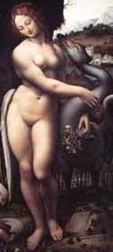 Erotic Art: Painting of Nude Woman (Leda and the Swan) by Leonardo da Vinci