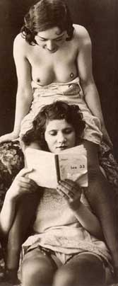 Two women reading an erotic story