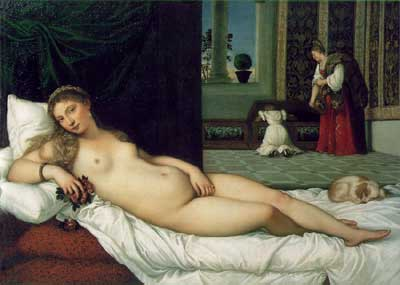 Renaissance Art Painting by Titian of Female lying on Bed