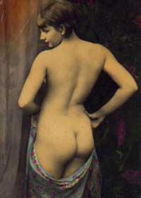 Nude Vintage Woman showing her Beautiful Bottom