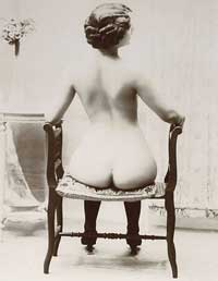 Vintage nude woman showing her bare bottom