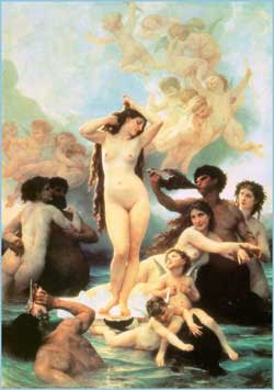Erotic painting of the Greek goddess Aphrodite