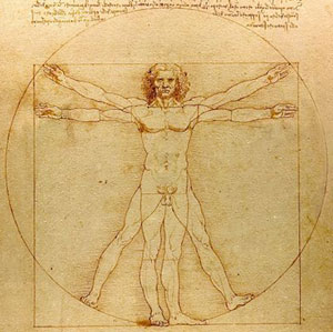 Leonardo da Vinci, Vitruvian Man. Naked Male in Circle and Square.