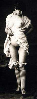 Lady in Striped Stockings in a State of Undress