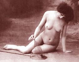 Picture of Nude Woman playing with butterfly net
