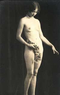 Vintage Nudes - Naked Lady holding Flowers