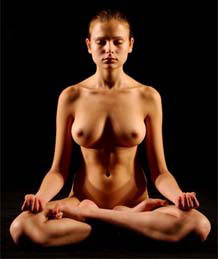 Woman in the nude doing yoga