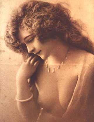 Vintage Erotica - Erotic sepia photograph of natural, wistful woman