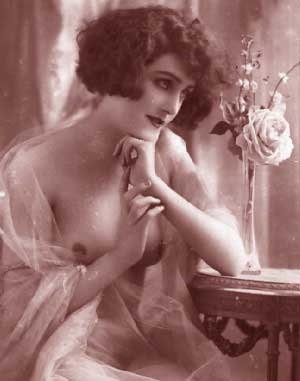 Vintage Erotica - Beautiful Erotic Woman with Rose